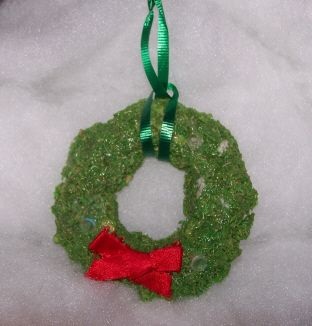 wreath ornament made from shredded wheat I did this with my son