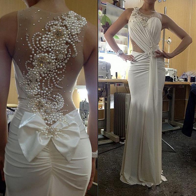 Elegant pearls back sheath beach wedding dresses custom for Sexy classy wedding dress