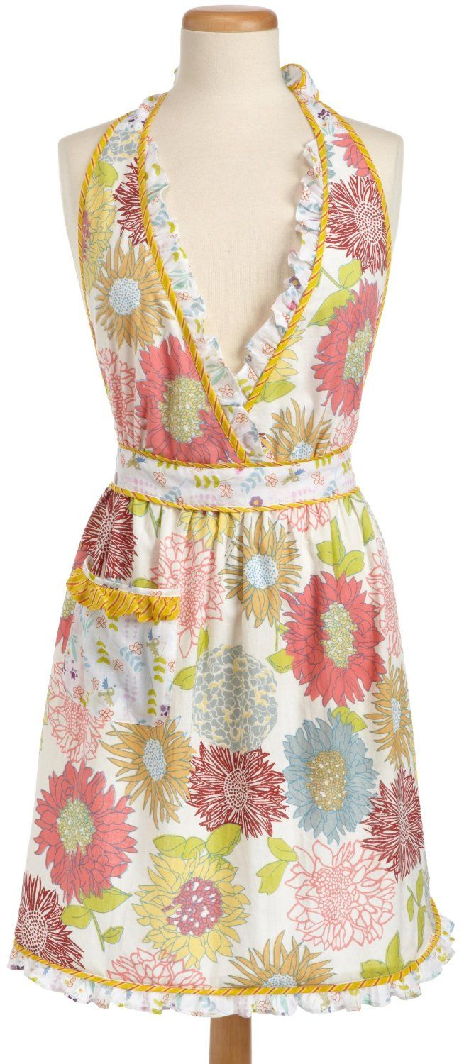 White ruffle apron amazon - Amazon Com Dii Summer Blooms Print Full Apron Soft Floral Pattern With Front