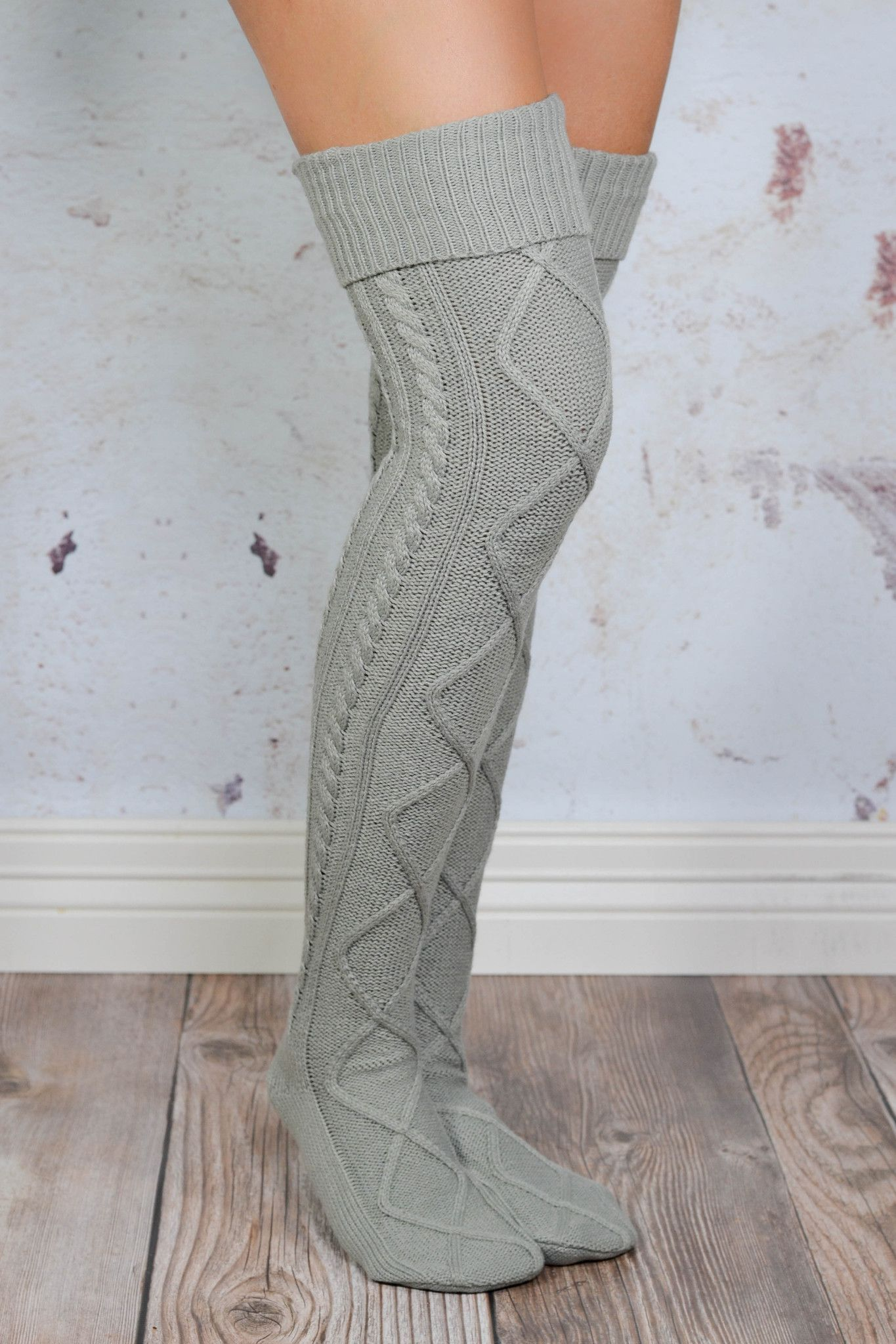 grey cable knit boot socks