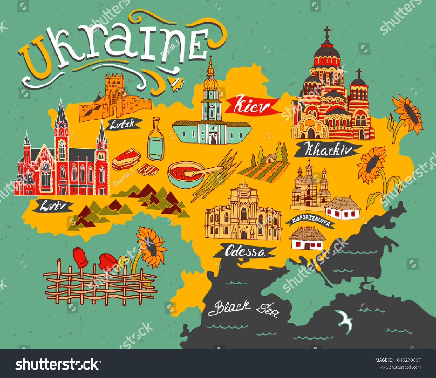 Illustrated Map Of Ukraine With Elements Of Culture And Nature