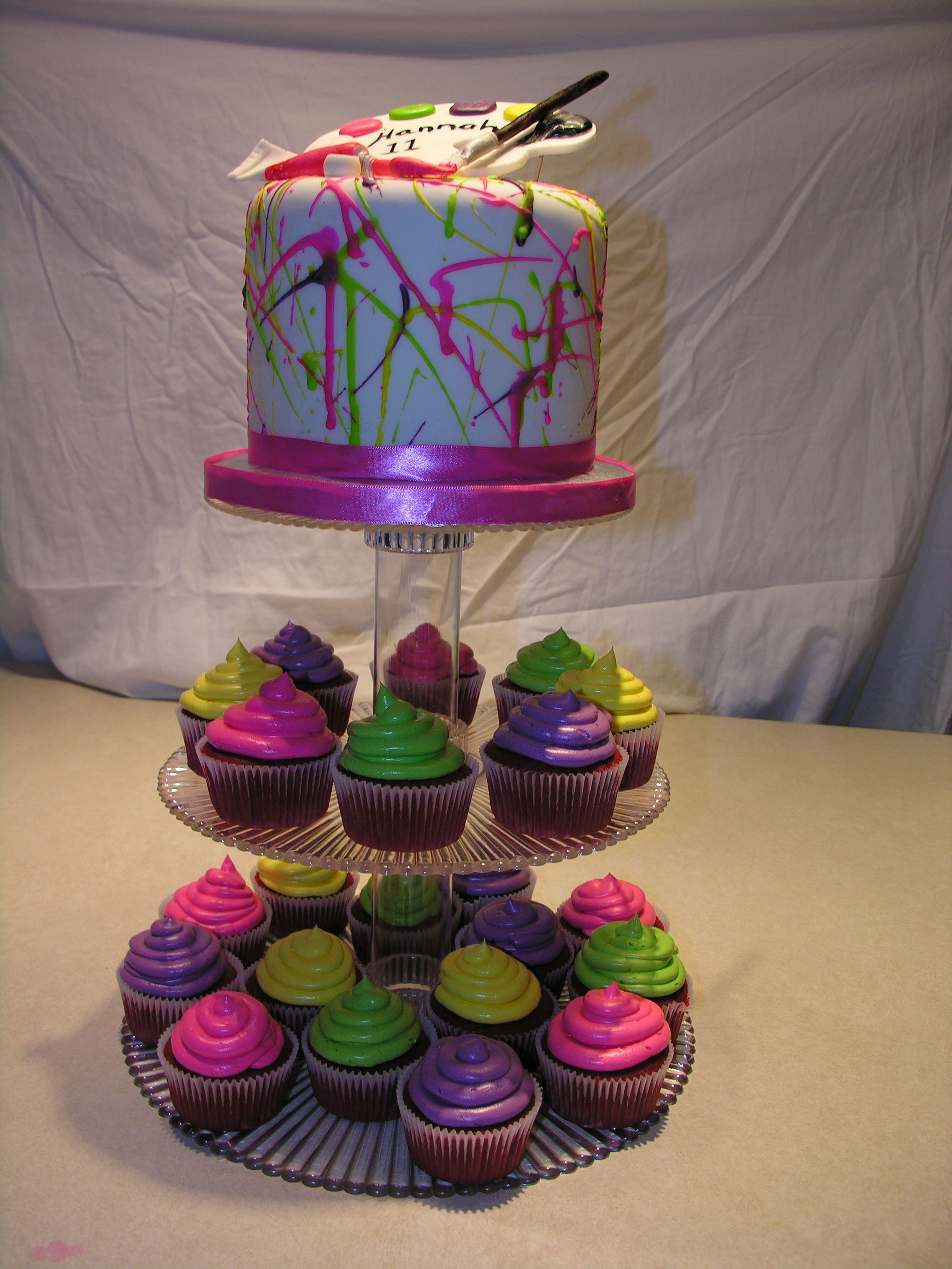 Paint Splatter Cupcake Tower - Paint Splatter Cake For My -1954