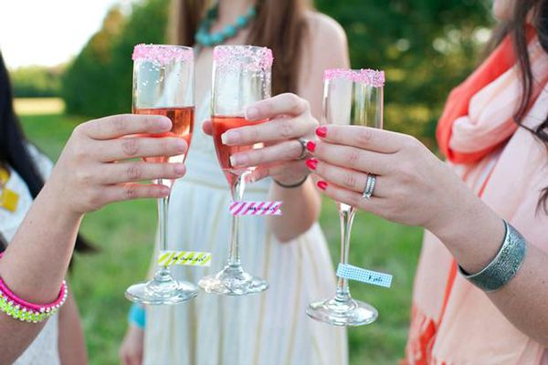 washi tape drink flags on champagne glasses at bridal shower