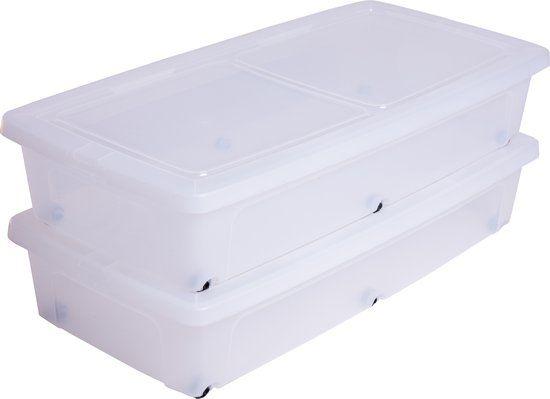 IRIS Clearbox onder-het-bed Opbergbox - 35 l - Kunststof - Transparant met zwarte wieltjes - 2 stuks