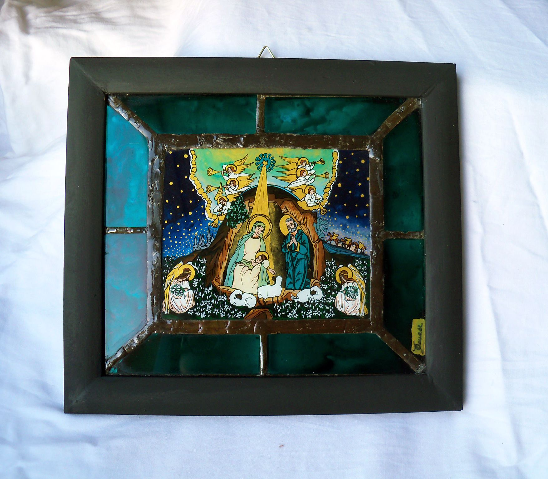 Reverse Painting On Glass Icon And Stained Glass Tiffany Panel