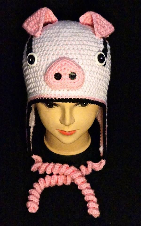 Crochet Bryson the Pig Earflap Hat | Crochet/Knitting | Pinterest