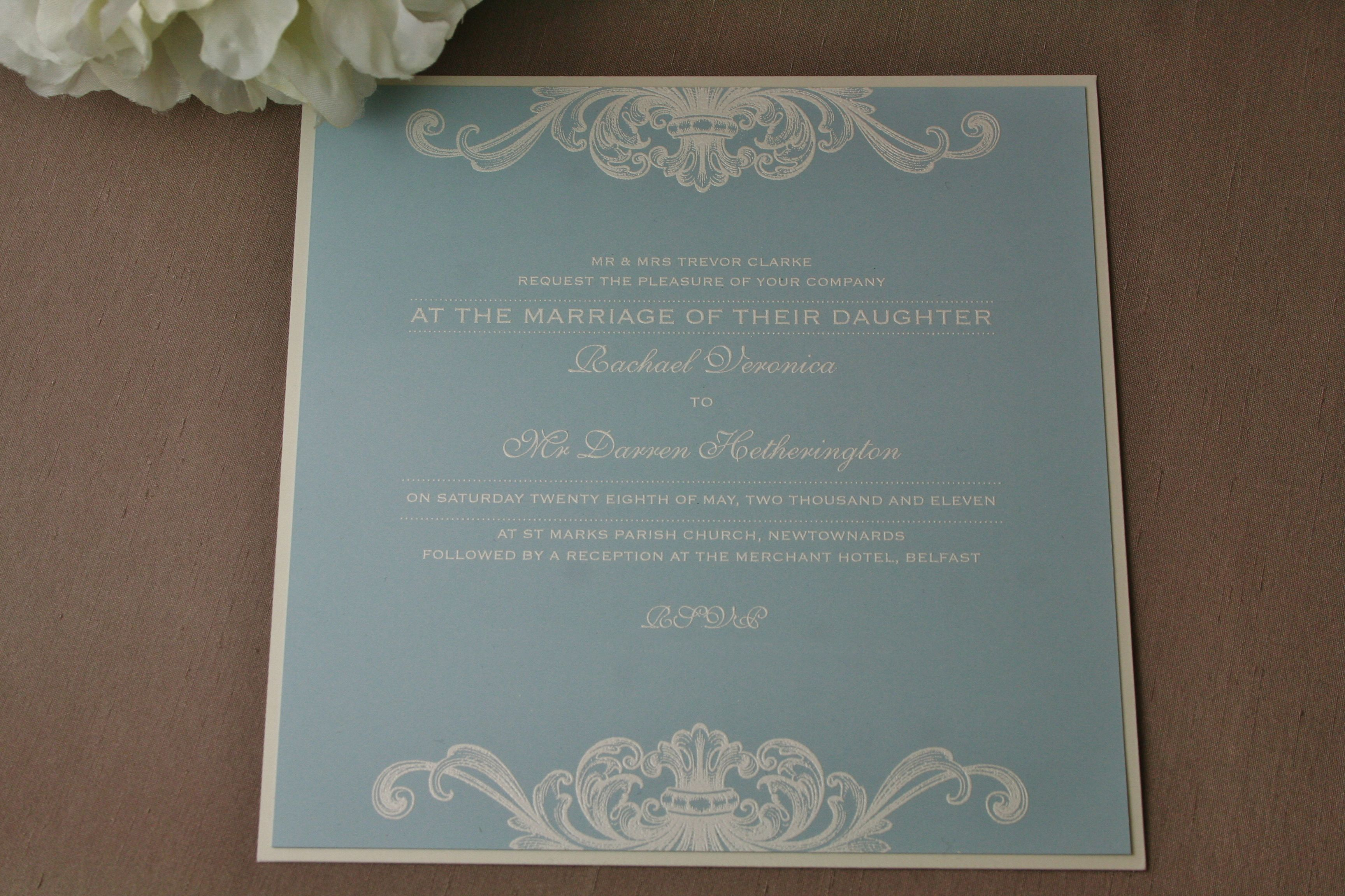 Wedgwood Blue & White Thermographed Invitations by White Lace ...