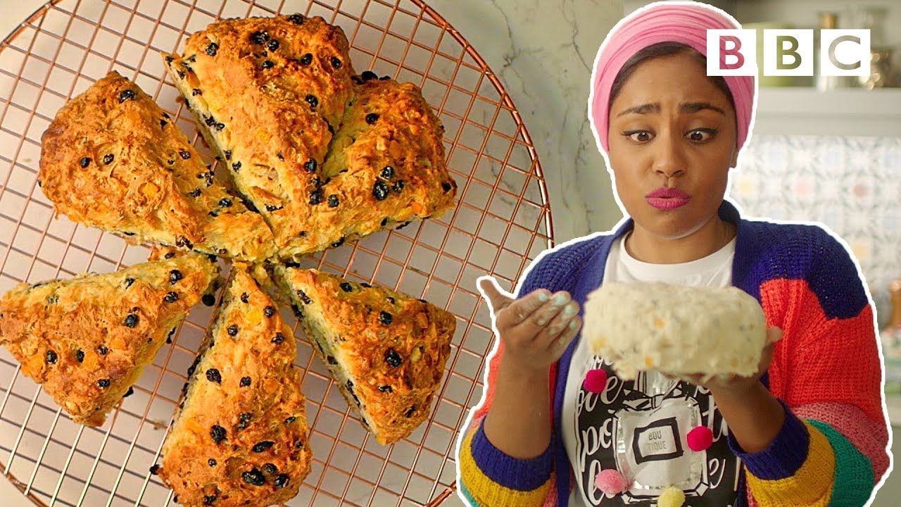 How To Make Fruity Soda Bread And Homemade Butter Nadiya S Time To Ea Soda Bread Nadiya Hussain Recipes Homemade Butter