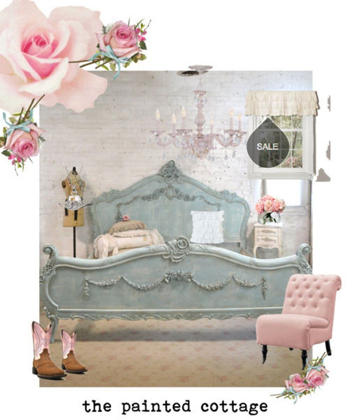 Schlafzimmermöbel Sale French Bed Painted Cottage Shabby Chic Romantic Bed Queen