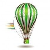 Balloon : Colorful hot air balloon with silhouettes isolated on white background  Stock Photo