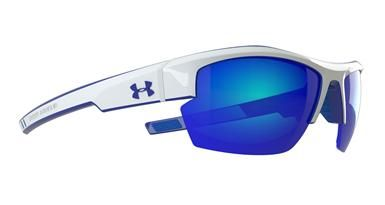 06f887b54b90 Under Armour Igniter Pro Sunglasses in Shiny White Blue color with Gray  Blue Multi-Flection Lenses