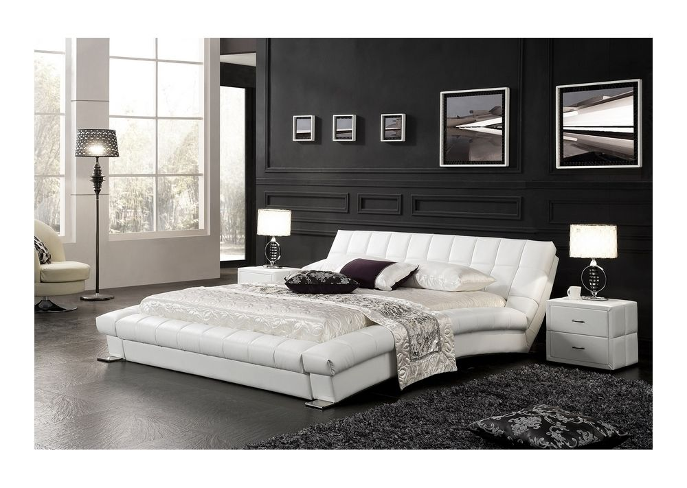 lit capitonn sommier neptune 160x200 cm blanc. Black Bedroom Furniture Sets. Home Design Ideas