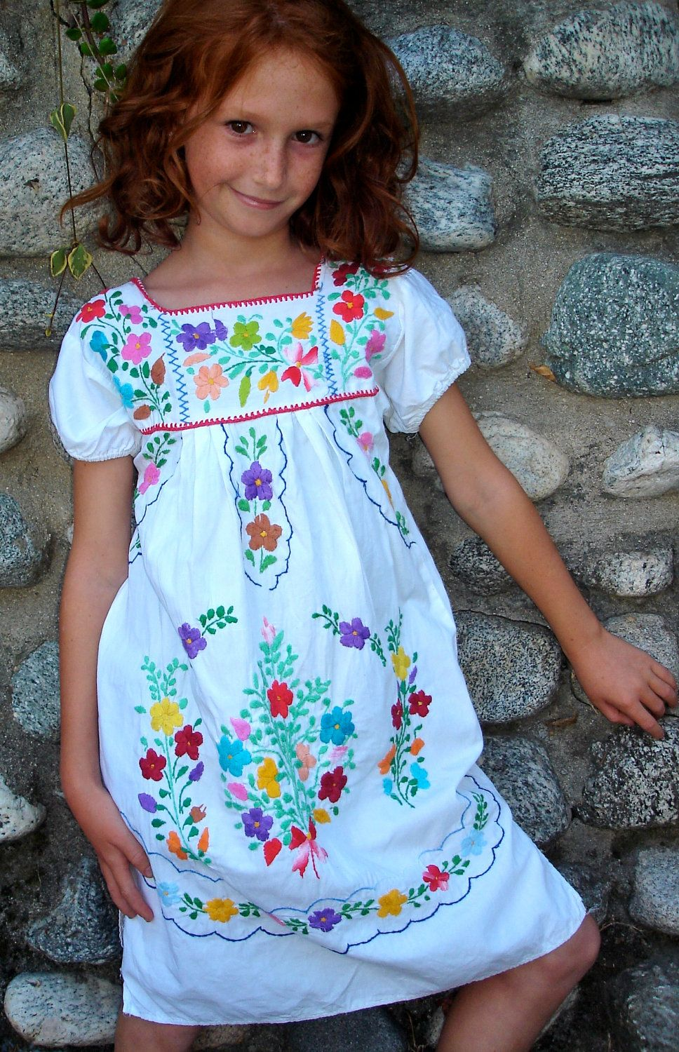 Mexican Cutie Little Girls Vintage Mexican Dress Hand Embroidered ...