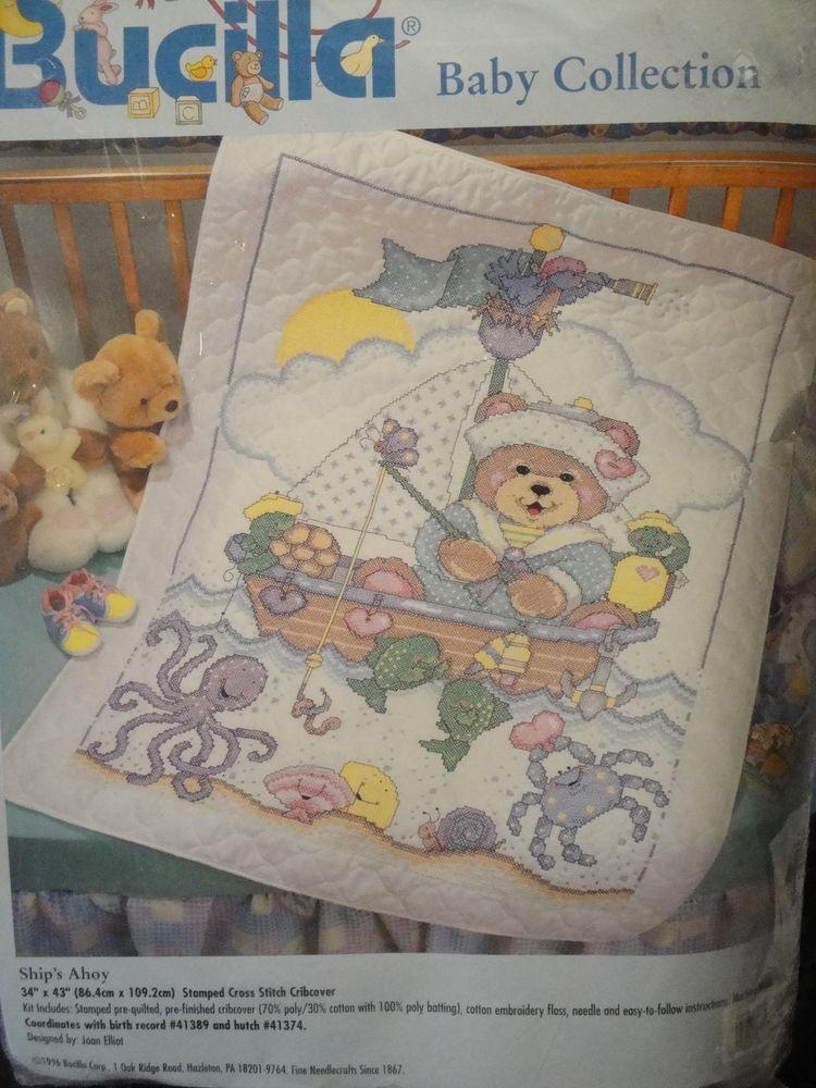 BUCILLA - STAMPED CROSS STITCH KIT - SHIP'S AHOY CRIBCOVER - NIP ... : bucilla cross stitch baby quilts - Adamdwight.com