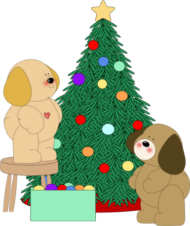 christmas puppy clip art dogs decorating christmas tree clip art image two dogs helping