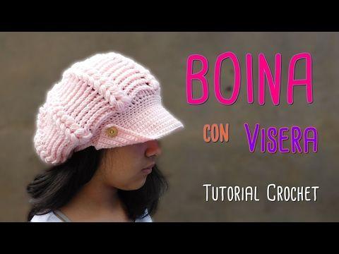 DIY Como tejer una boina con visera a crochet - YouTube  66150efc90c
