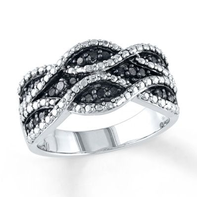 Artistry Diamonds Black Diamond Ring 1/4 ct tw Round-cut Sterling Silver WcZmL1a0Uy