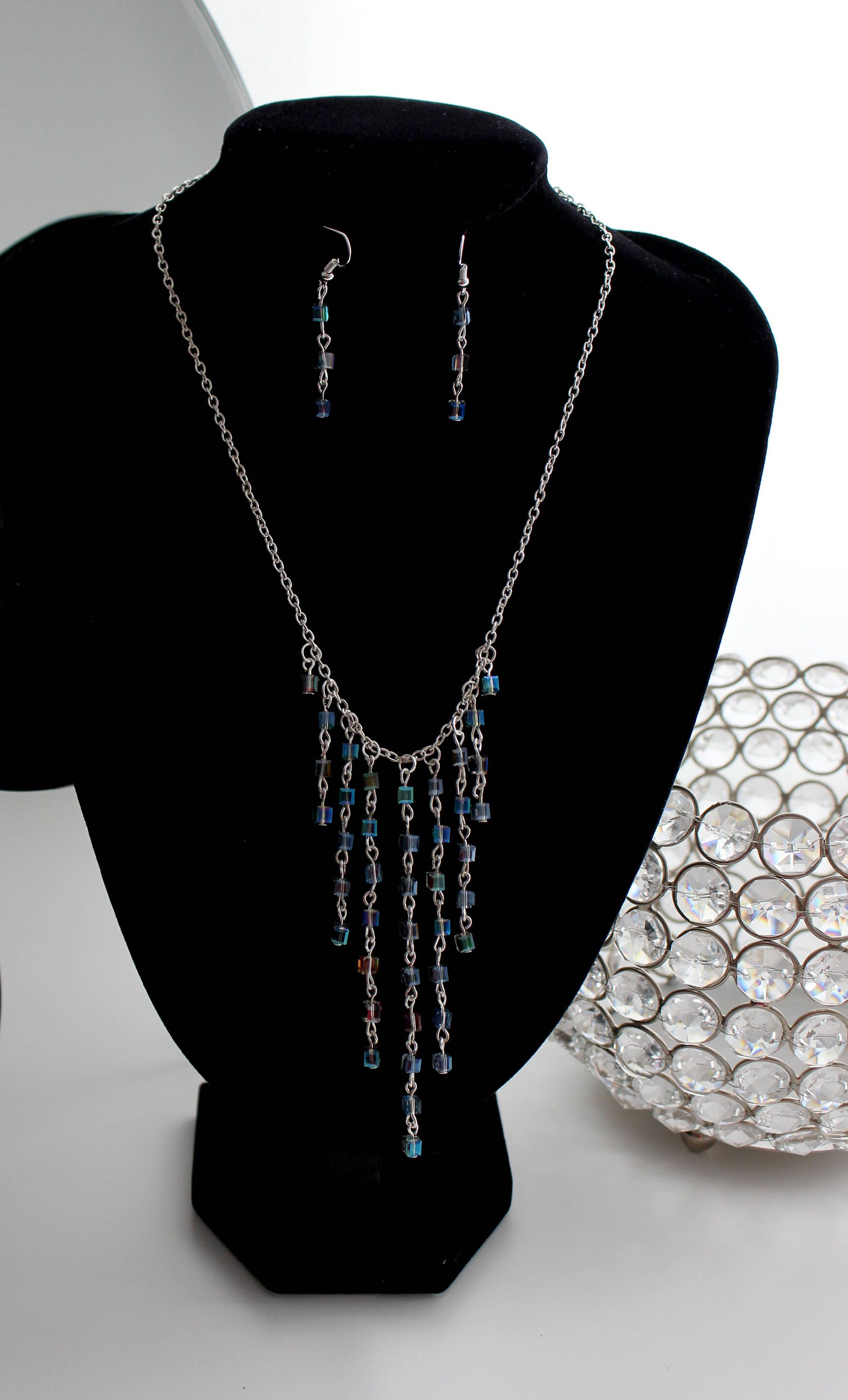 Jewelry set Lobster clasp Glass square beads Light vitrail color beads Cascade necklace and french hook dangle earrings. Silver tone