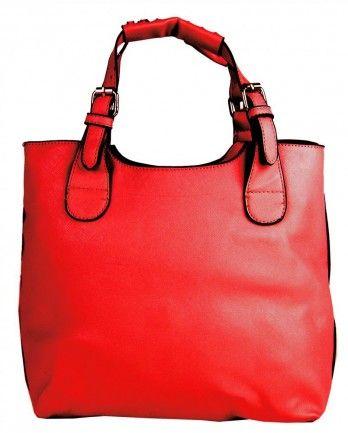 Módní shopper kabelka do ruky 3036 červená - Kliknutím zobrazíte detail obrázku.