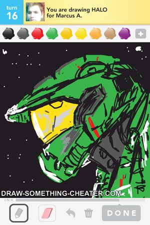 Draw Something HALO drawn on the iphone