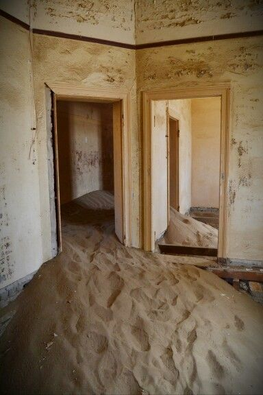 Empty room of doctor's house, #Kolmanskop, #Namibia