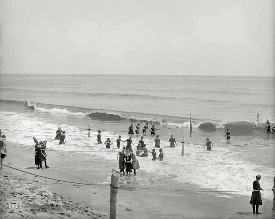 The jersey shore circa 1905 in the surf at asbury park