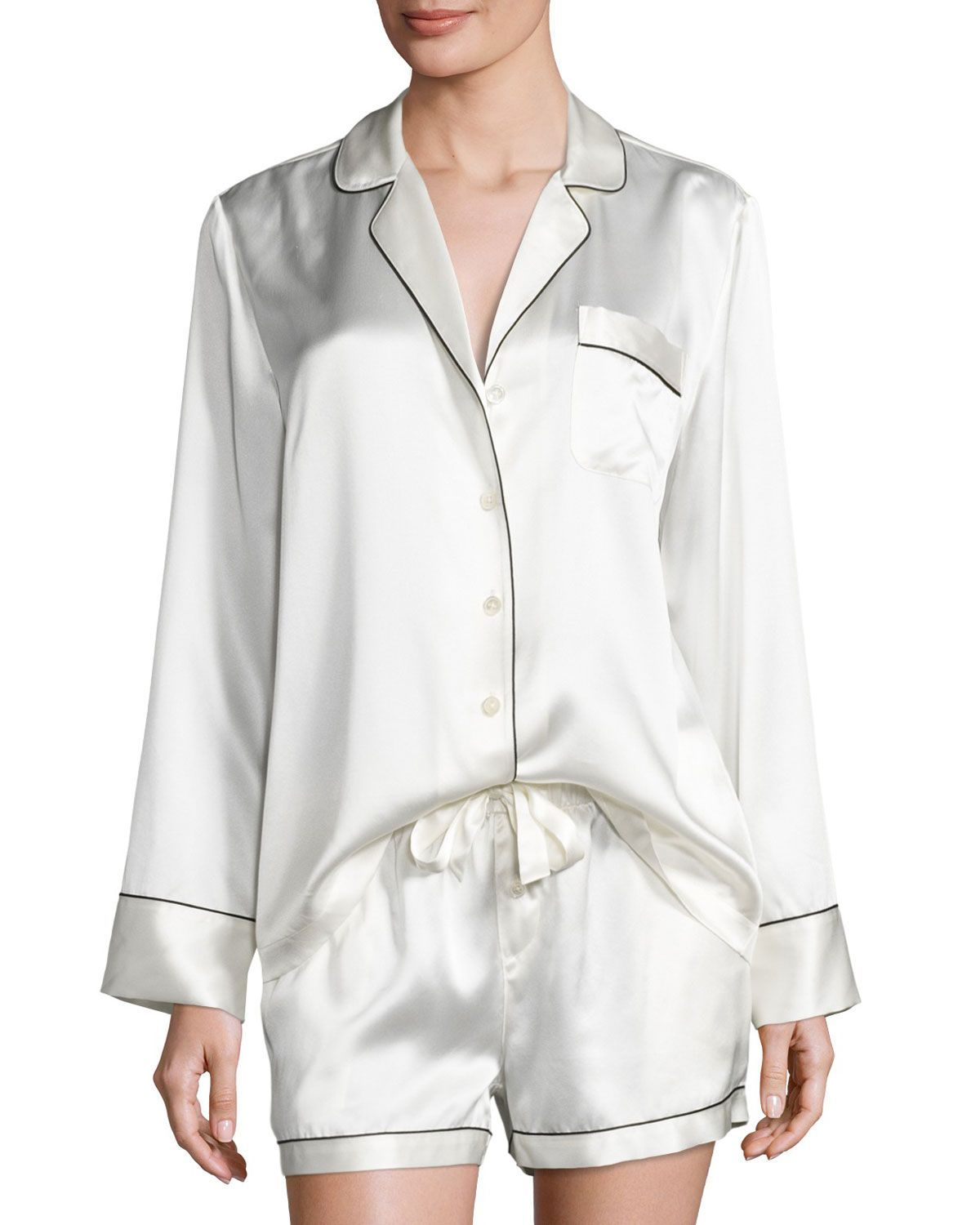 Neiman Marcus short pajama set in silky satin with contrast piping. Notched  collar  button front. Long sleeves. Chest patch pocket. Relaxed silhouette. 5b301b425