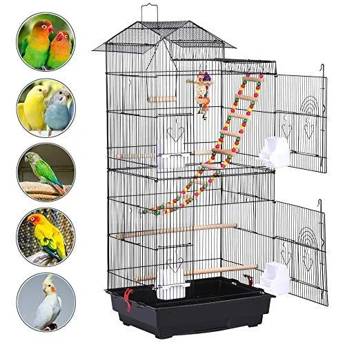 Yaheetech 39 H Roof Top Large Metal Bird Cage Parrot Cockatiel Pet Bird Cage Cockatiel Cage Large Bird Cages