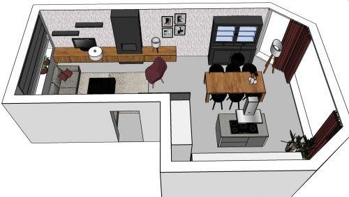3D impressie interieurontwerp woonkamer Waddinxveen by Flow Design (2)
