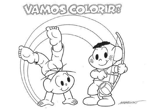 Desenhos da Turma da Mônica nas Olimpíadas para colorir, pintar, imprimir! Desenhos da turma da Mônica praticando esportes - ESPAÇO EDUCAR