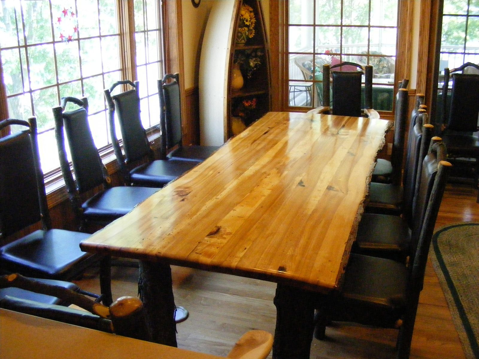 Custom Made Rustic Hickory Table Farmhouse style kitchen