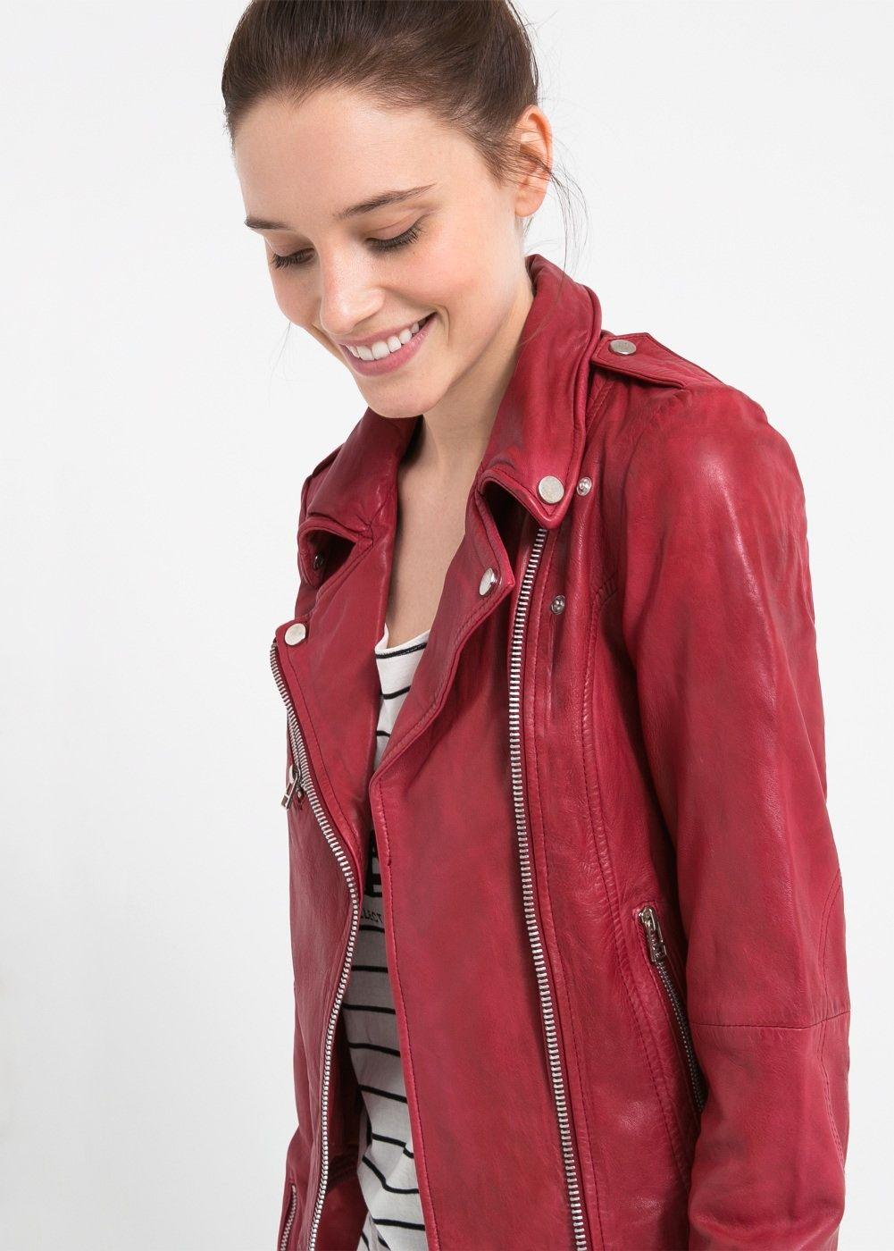 venta caliente moda de lujo tecnicas modernas red leather | MANGO | My Style | Cazadora piel, Chaqueta ...