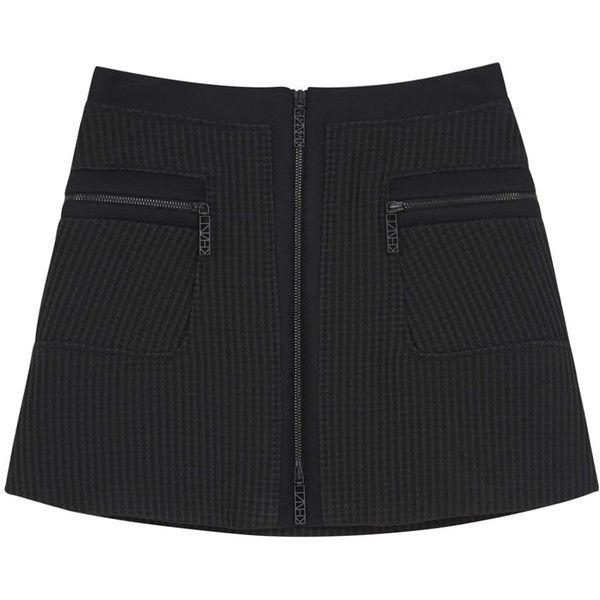 KENZO Black Textured A-line Mini Skirt (€175) ❤ liked on Polyvore featuring skirts, mini skirts, bottoms, clothes - skirts, short mini skirts, textured skirt, zipper skirt, mini skirt and kenzo