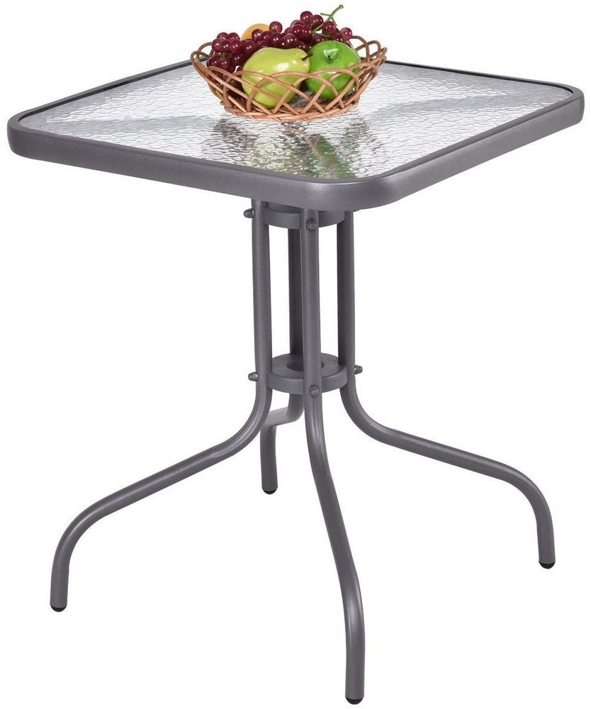 Small Patio Table 24 Inch Square Outdoor Tempered Glass Top Stylish Gray Steel Unbranded Outdoor Table Tops Tempered Glass Table Top Glass Top Table 24 inch square table