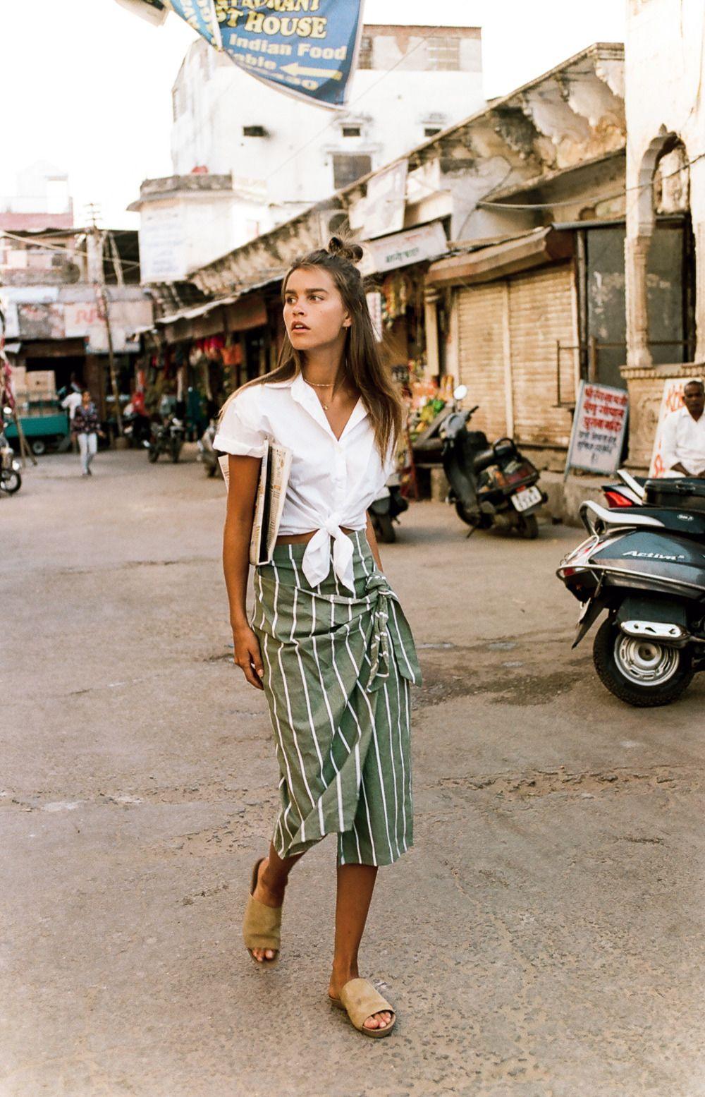 835cf8a4e85 striped midi green wrap skirt