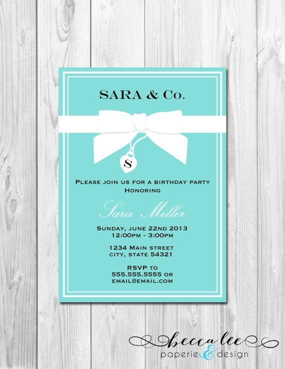 Birthday Party Invitation Tiffany Co Inspired DIY – Tiffany Blue Birthday Invitations