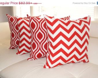 Chevron Red and Nicole Rojo Red and White Ogee Outdoor Throw Pillows - Set of 4 - Free shipping