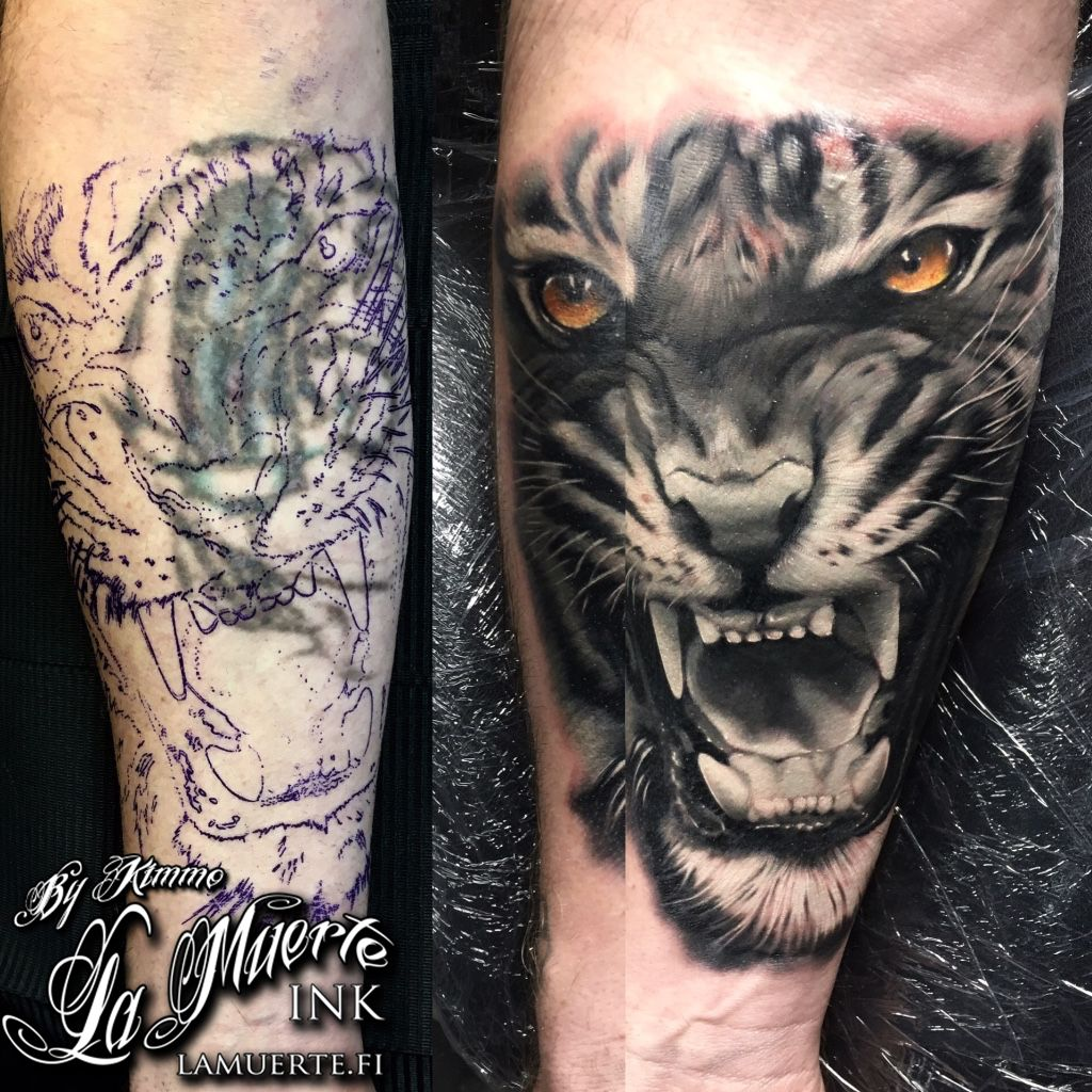 Tiger Cover Up Tattoo By Kimmo Angervaniva La Muerte Ink Cover Up Tattoo Cover Tattoo Best Cover Up Tattoos