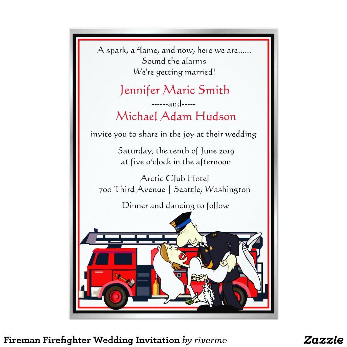 Fireman Firefighter Wedding Invitation | Firemen, Firefighter and ...