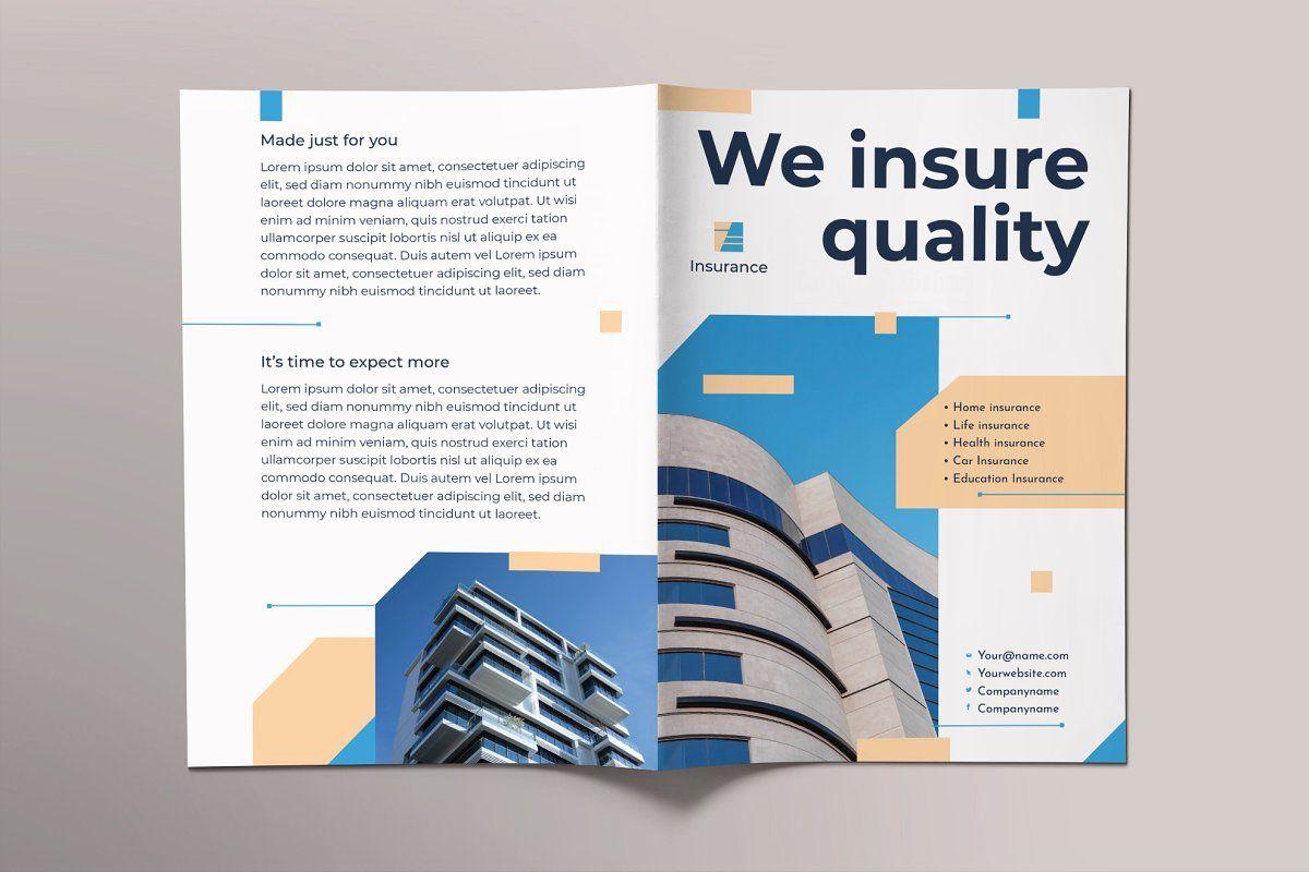 Insurance agency brochure bifold in 2020 word template
