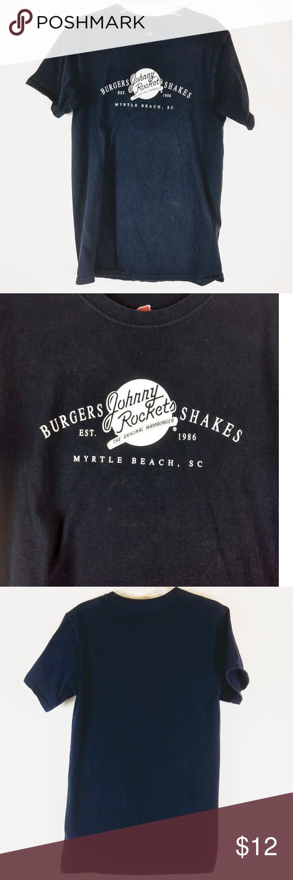 9867fa78fce9 Johnny Rockets Burgers Shakes T-Shirt Myrtle Beach Johnny Rockets Burgers  and Shakes Myrtle Beach South Carolina Souvenir Navy T Shirt Size Small  There is a ...