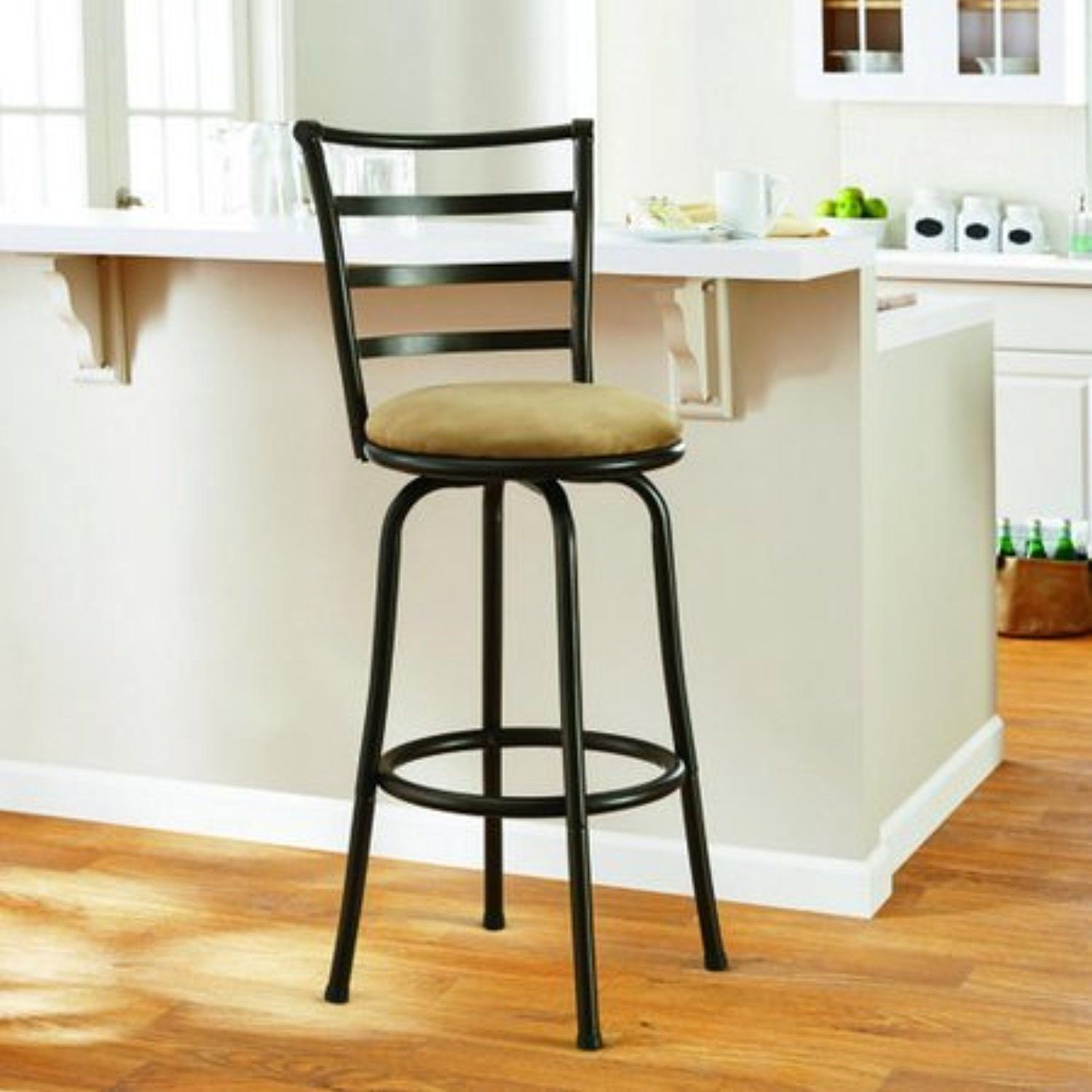 Mainstays 29 Ladder Back Barstool With Tan Microfiber Swivel Stool Hammered Awesome Products Bar Stools High Back Dining Chairs Counter Height Bar Stools 29 inch bar stools with back