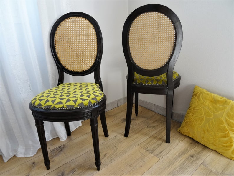 Canne Medallion Chair Trendy Editor Fabric Seat Louis Xvi Style Interior Decoration Deco Guest Rooms Contemporary Design In 2020 Louis Xvi Style Contemporary Design Wooden Chair