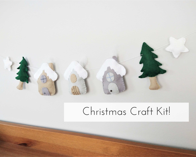 Make Your Own Felt Christmas House Ornament Diy Craft Kit Etsy Felt Christmas House Ornaments Diy Craft Kits