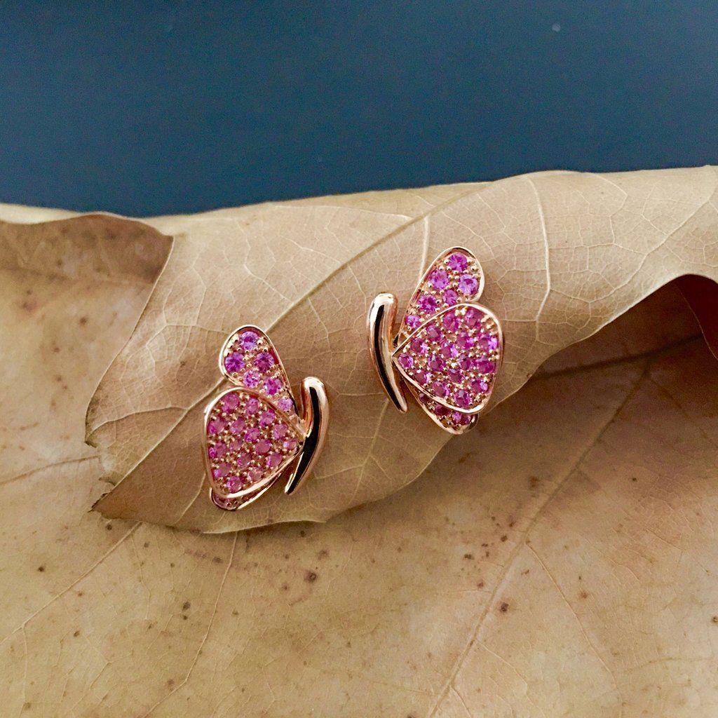 Butterfly Earrings in Pink Sapphires 2019 귀걸이