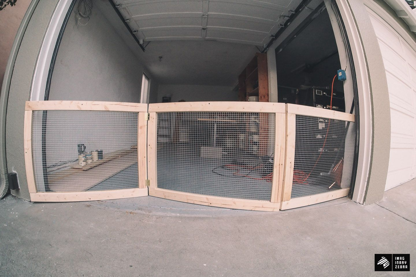 My Man Cave Part 1 Diy Dog Fence For Garage Doors Imaginary Zebra Diy Dog Fence Diy Dog Gate Dog Fence