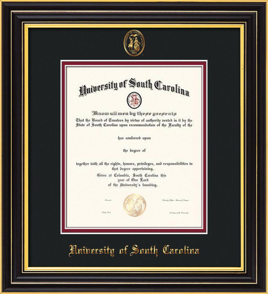 USC Upstate Diploma Frame-Cherry Reverse-w/USCU seal-black/garnet – Professional Framing Company