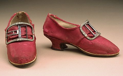 Wedding Shoes, England, 1765, red-pink glazed wool ...