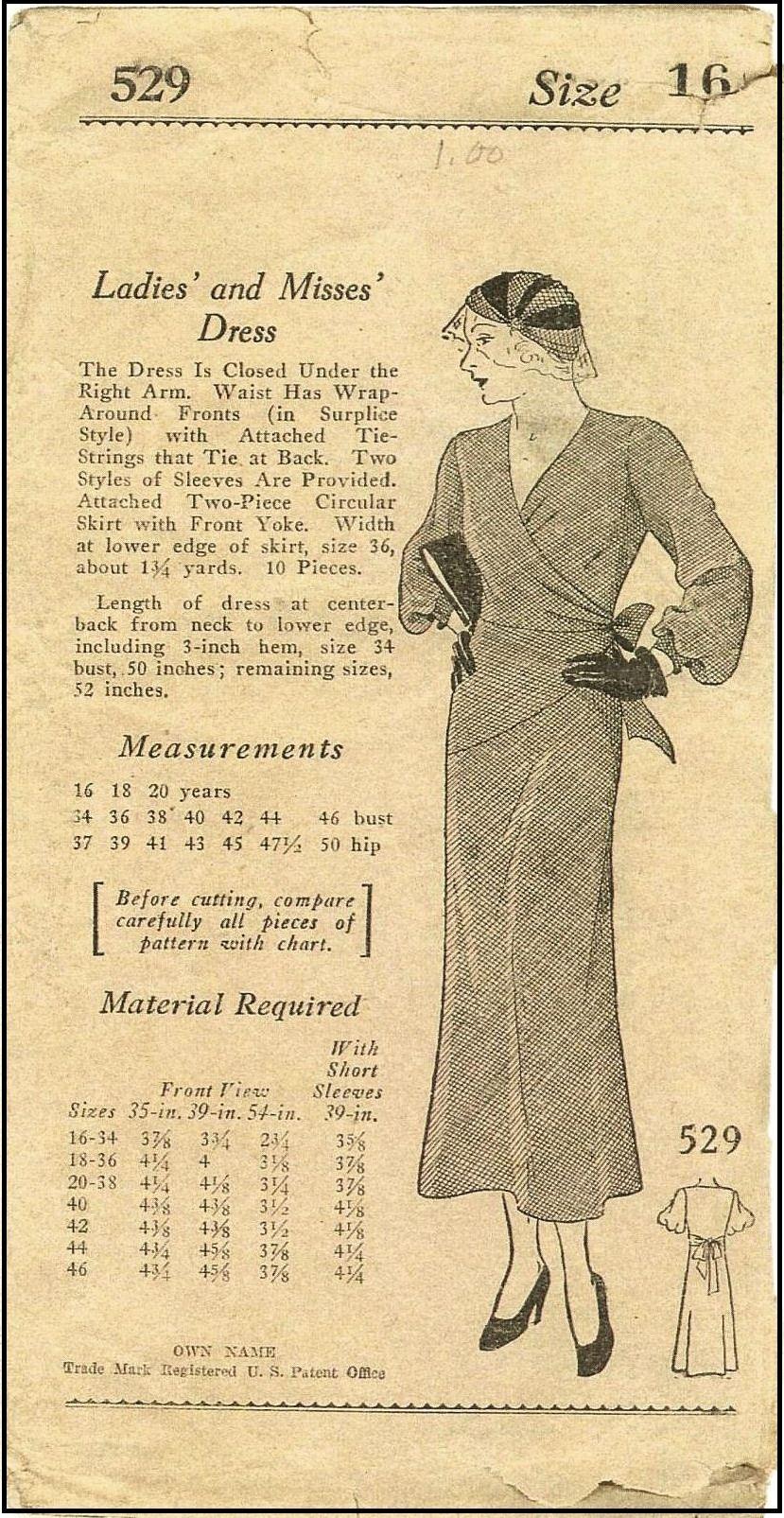 1930s Ladies Wrap Dress Sewing Pattern Mail Order Unknown 529 In 2021 Vintage Patterns Vintage Pattern Wrap Dress Sewing Patterns [ 1605 x 829 Pixel ]