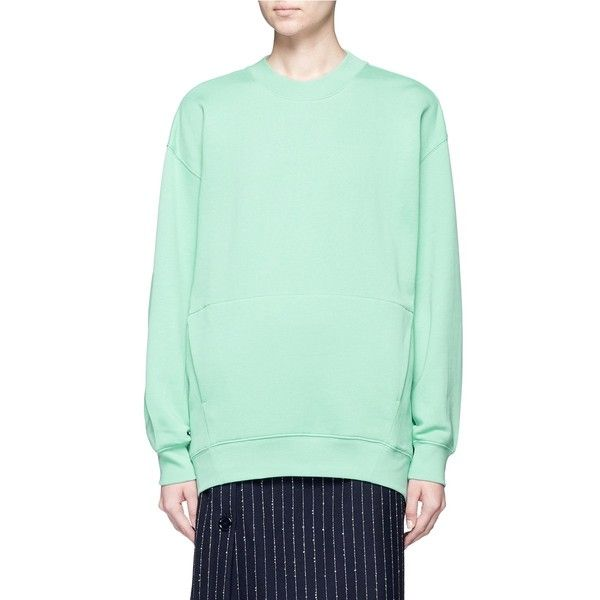 Acne Studios 'Karvel' oversized cotton sweatshirt (€270) ❤ liked on Polyvore featuring tops, hoodies, sweatshirts, green, green top, oversized sweatshirts, double layer top, acne studios and green sweatshirt